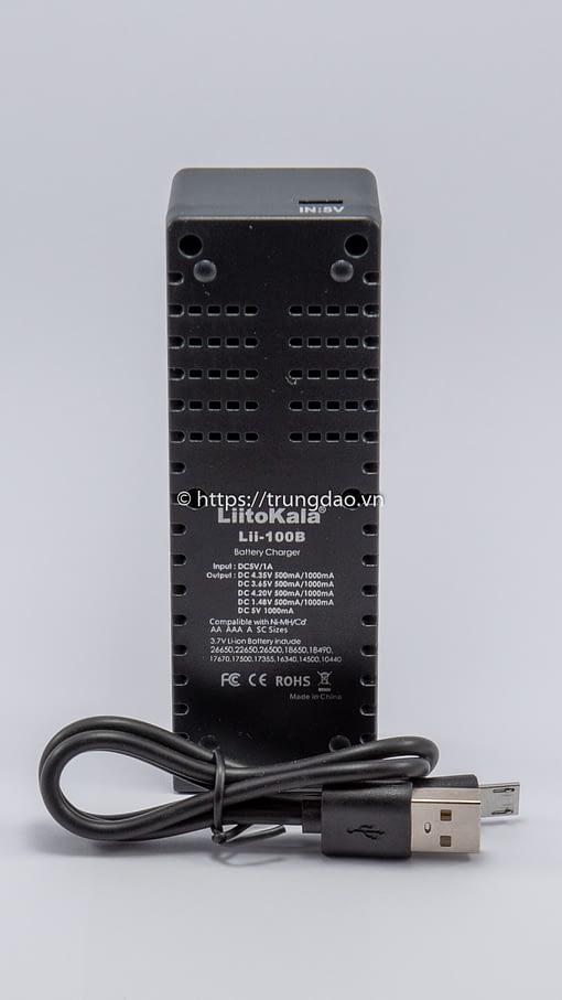 Bộ sạc pin LiitoKala Lii-100B (LiitoKala Lii-100B battery charger back-side)