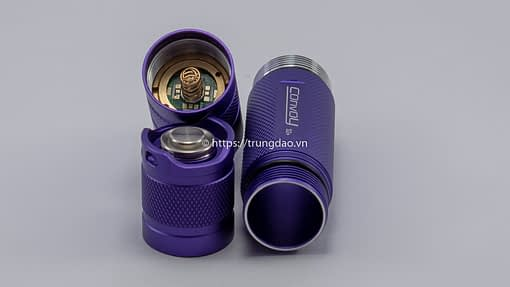 Các thành phần đèn pin Convoy S2+(Convoy S2+ purple flashlight parts back-side)